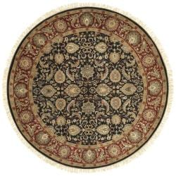 Hand-knotted Finial Black Wool Rug (8' Round)