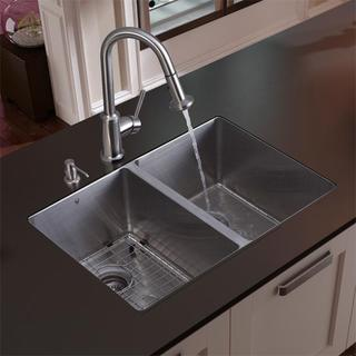 Vigo Undermount Stainless Steel Kitchen Double Sink, Faucet, Grid and Dispenser