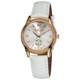 August Steiner Women's Genuine Leather Swiss Quartz Watch