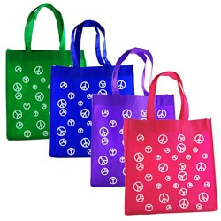 H2W Fabric Peace Sign Tote Bag