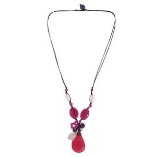 Amethyst and Quartz Teardrop Necklace (Thailand)