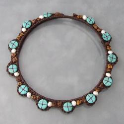 Reconstructed Turquoise/ Tiger's Eye Choker Necklace (Thailand)