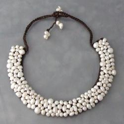 Freshwater Pearl Mosaic Bib Necklace (Thailand)