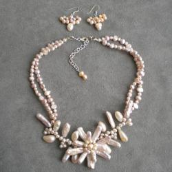 Sterling Silver Pink Pearl Floral Jewelry Set (5-20 mm) (Thailand)