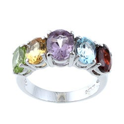 La Preciosa Sterling Silver Oval-cut Multi-gemstone Ring