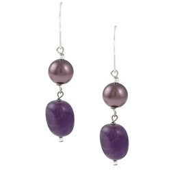 Glitzy Rocks Silver Amethyst and Faux Pearl Dangle Earrings