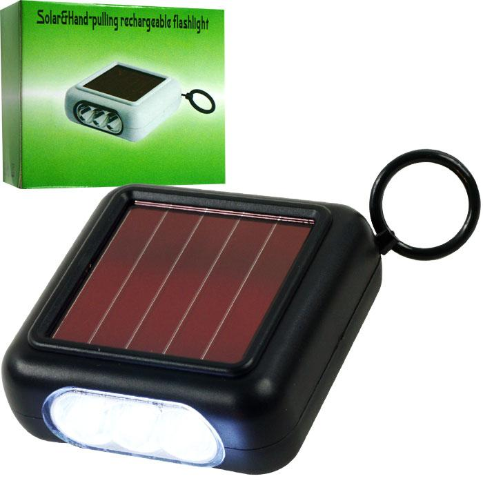 Solar Rechargeable Pull Power Flashlight