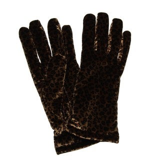 Cejon Women's Cheetah Print Velvet Gloves