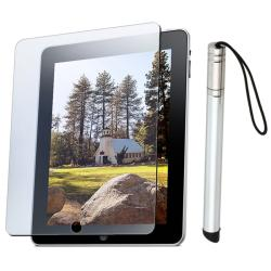3-piece Silver Stylus Pen/ Anti-glare Screen Protector for Apple iPad