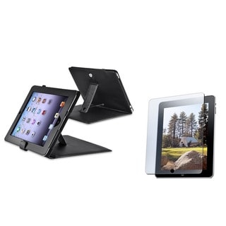 Black Leather Case with Screen Protector for Apple iPad