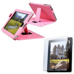 Pink Leather Case with Anti-glare Screen Protector for Apple iPad