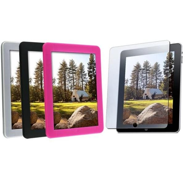 4-piece Silicone Cases/ Screen Protector for Apple iPad