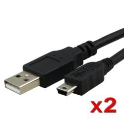 Black Type A to Mini 5-pin Type B 6-foot USB Data Cable (Pack of 2)