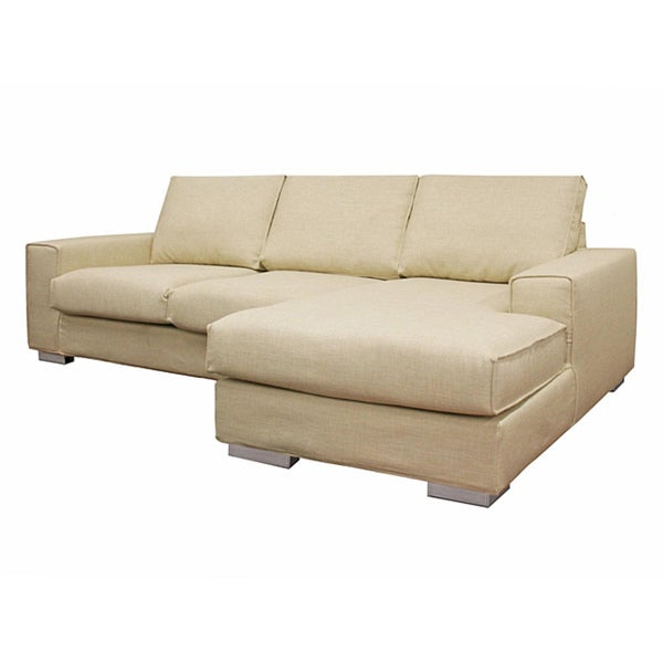 campbell cream twill modern sectional sofa overstock shopping big discounts on baxton studio. Black Bedroom Furniture Sets. Home Design Ideas