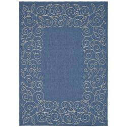 Indoor/Outdoor Contemporary Blue/Ivory Rug (2'7 x 5')