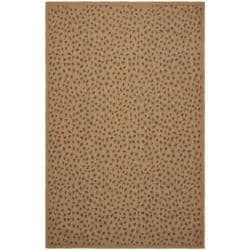 Indoor/ Outdoor Natural/ Leopard Print Rug (4' x 5'7)