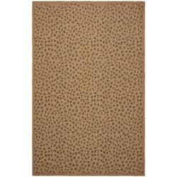 Safavieh Indoor/ Outdoor Natural/ Leopard Print Rug (4' x 5'7)