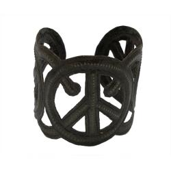 Recycled Steel Oil Drum Peace Cuff Bracelet (Haiti)