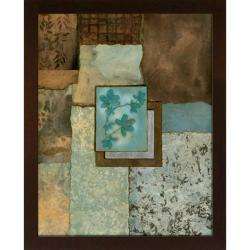Norm Olson 'Petites Fleurs Sur Le Bleu I' Embellished Framed Art Print