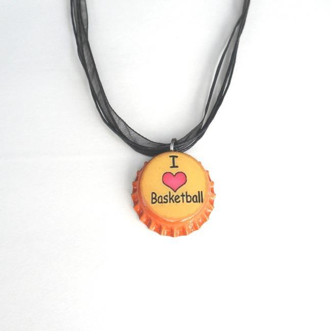 Orange 'I Love Basketball' Bottle Cap Necklace