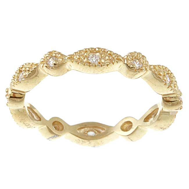 Celeste Goldtone Stackable Cubic Zirconia Micro Pave Stack Ring