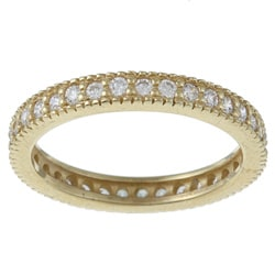 Celeste Goldtone Stackable Cubic Zirconia Micro Pave Eternity Stack Ring
