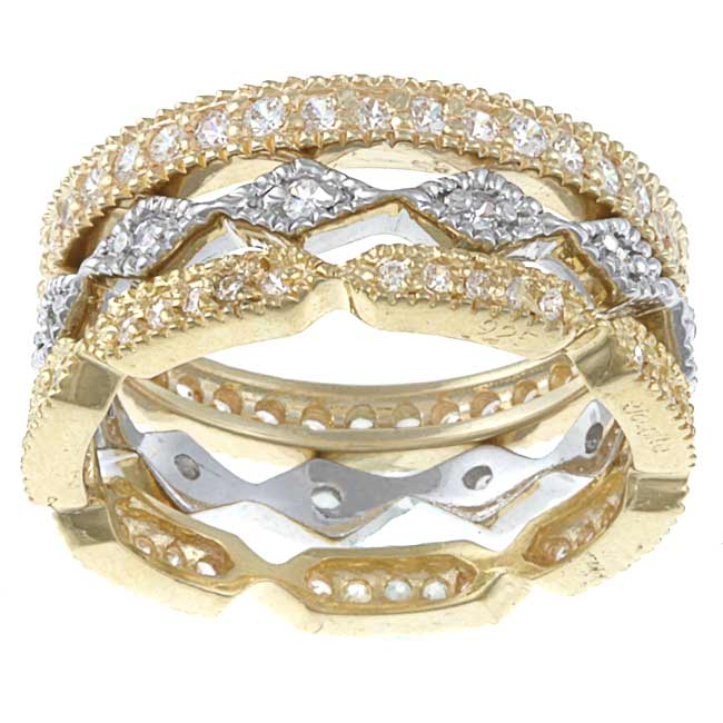 Celeste Gold Overlay and Sterling Silver Cubic Zirconia Rings (Set of 3)