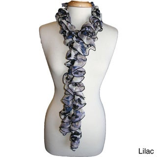 Watercolor Ruffled Chiffon Scarf
