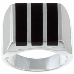Gems For You Sterling Silver Men's Black Onyx Stripe Ring