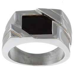 Gems For You Sterling Silver Men's Black Onyx Ring