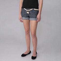 Ci Sono by Journee Juniors Rope Belt Denim Shorts