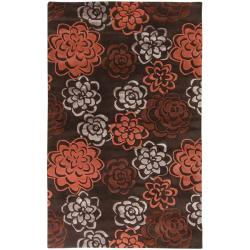 Hand-Tufted Candice Olson Divine Red Floral Wool Rug (9' x 13')