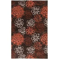 Hand-Tufted Candice Olson Divine Chocolate Floral Wool Rug (9' x 13')