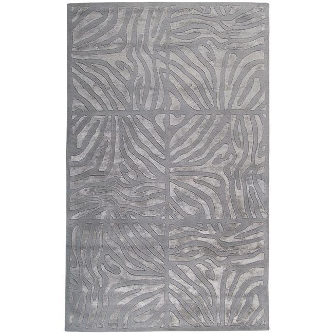 Candice Olson Hand-tufted Grey Zebra Animal Print Divine Wool Rug (5' x 8')