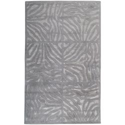 Candice Olson Hand-tufted Grey Zebra Animal Print Divine Wool Rug (5' x 8')