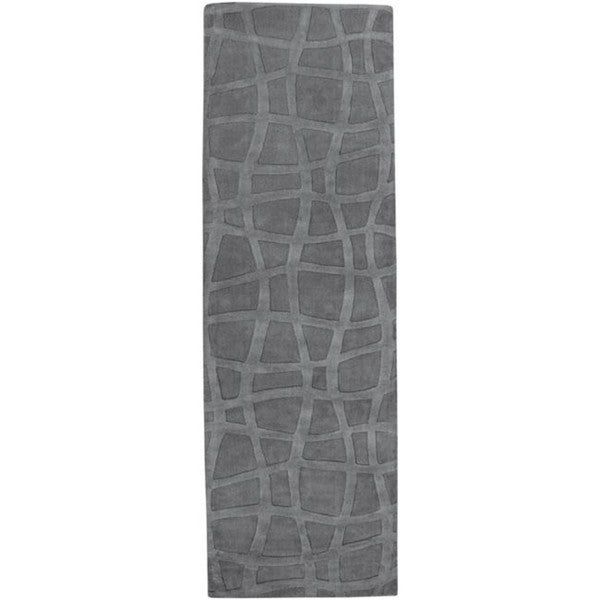 Candice Olson Loomed Carved Grey Abstract Plush Wool Rug (2'6 x 8')