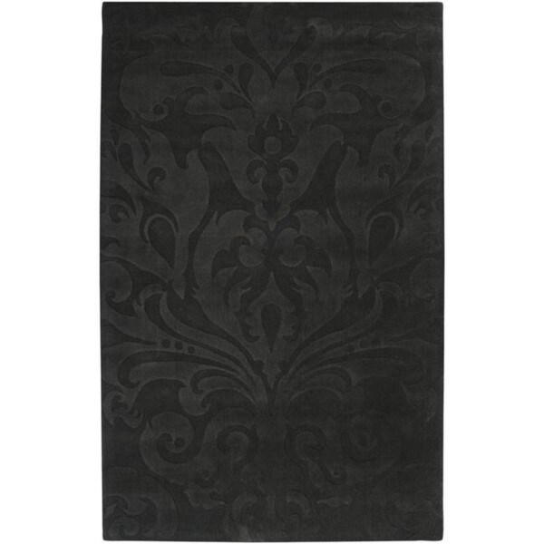 Candice Olson Loomed Black Damask Pattern Wool Rug (8' x 11')