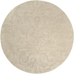 Candice Olson Loomed Ivory Damask Pattern Wool Rug (8' Round)