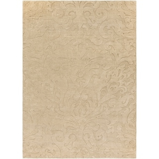 Candice Olson Loomed Beige Damask Pattern Wool Rug (8' x 11')