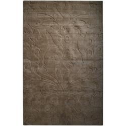 Candice Olson Loomed Chocolate Damask Pattern Wool Rug (9' x 13')