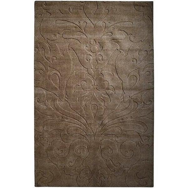 Candice Olson Loomed Chocolate Damask Pattern Wool Rug (9' x 13')