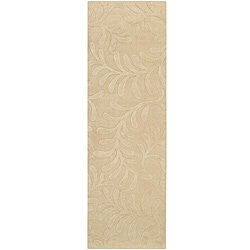 Candice Olson Loomed Beige Floral Plush Wool Rug (2'6 x 8')