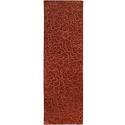 Candice Olson Loomed Red Floral Plush Wool Rug (2'6 x 8')
