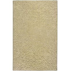 Candice Olson Loomed Putty Floral Plush Wool Rug (8' x 11')