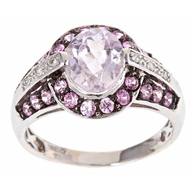 Anika and August 14k White Gold Kunzite, Pink Sapphire and Diamond Accent Ring