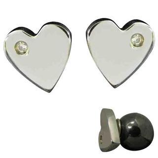 Magnetic Heart Cubic Zirconia Earrings