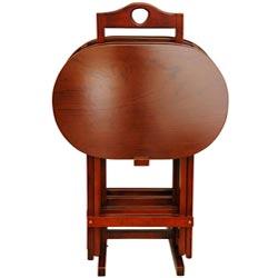 Set of 4 Rosewood Honey TV Trays (China)