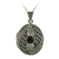 Glitzy Rocks Sterling Silver Onyx and Marcasite Oval Necklace