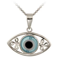 Glitzy Rocks Sterling Silver Enamel and Glass Evil Eye Necklace