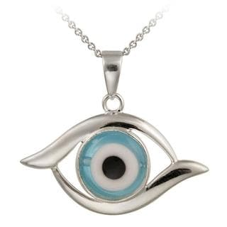 Glitzy Rocks Sterling Silver Blue Glass Evil Eye Necklace